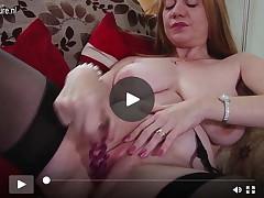 Major breasted British Mamacita with bald tacky crack