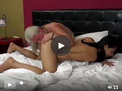 Old female-on-female mamacita makes love her adolescent lass