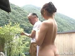 This stunning Japanese gal is enjoying the brilliant outdoors and fresh air, despite the fact relaxing in this onsen. This girl sees an old gentleman come in and this babe can sense, this chab is in yearn of some appealing healing. This girl plays with hi