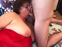 Mamma caressed her son and had anal love making act with him. Mother and son anal real