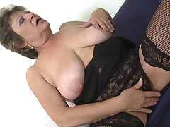 This sexual bitch juggles her saggy titties and then stretches her legs wide easy to obtain to dribble her old pussy. This chick can even kiss her own nipples. This chick rods her fingers in her cage of love hole. Doesn't this girl seem meaningful covered