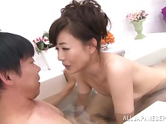 This salaryman has had a raw day, so that guy has visited a bathhouse and has invited a full-grown lady who puts into there to join him in the bathtub. This chick rubs his aching body and washes him sensually. Will she make him cum?