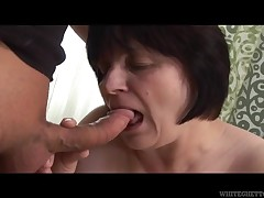This old grandma is a fat fuck and that babe is super horny. This chick takes off her top, to creep her massive average breasts, that are strapping and super saggy. This chick sucks off her younger boy-friend and then, titfucks him.