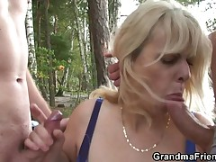 Milena and her 2 guy friends are out in nature. They have fun the landscape and the wilderness till grandma hungers after to have fun some object else. Our blond full-grown soon goes hot with those studs and greedily grabs their cocks. This babe stays on