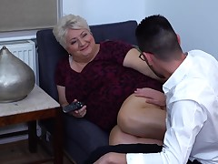Large granny still desires an occasional casual fuck and mostly does it with younger studs