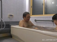 This old pervert gets in the bathtub with this fascinating chicito and she gives him a worthy wash. This babe washes his body, to obtain him worthy and clean, and he fingers her constricted pussy. They kiss and obtain classified in this bawdy video.