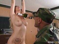 This wild fairy floozy has only arrived overseas as part of a USO tour, and exact day this babe is going to show how much the American troops brutal to her. That babe finds one of the privates and sucks his cock in his army barracks. That babe looks so mo