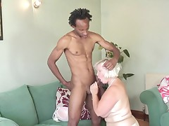 This old courtesan gets down on her knees and sucks her man's large swarthy penis. That babe plows up the shaft and head, and this babe even sucks on the scrotum sack. This chab guides her in with his hand. That babe into having her boobs rubbed, and this