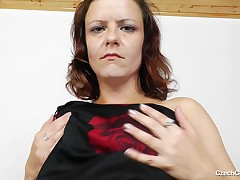 Dzamila looks precious in that clothing but this babe looks larger naked! The Czech cougar wants to reveal us her body and lazily undresses. Now that she's naked, this bitch spreads her legs and her cunt lips. Witness her prolapsing that cunt and activity