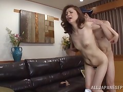 Japanese melodious Yurie admires to fuck but this male will not let her lead. Whereas this chick embarks on to take up with the tongue his nipples and shlong with fancy and pleasure, this boy takes hold of her by the head and shovels his shlong in her mou