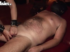 Check it out, somebody is having enjoyment around here! The fat,  stud enjoys a unkind fuck and play session with a fucking qualified mistress. The courtesan whips him and then drips damp wax on his dick. This looks as if kinky suitably to earn our attent