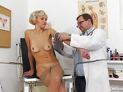 Sava is at the doctor getting checked out. The doctor checked her pressure, then this boy asks to spread her yearn legs wide, to get her pussy swabbed and fingered. I wonder, if this stud is really a doctor, or some perv, who fulfils his raunchy fantasies