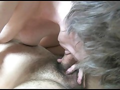 This old nanny is such a lewd seasoned floozy that this chick can't get enough sex. She sucks of a yellow sex toy as this chick is giving her boy a handjob. Then this chick moves on to the real thing. She gives him a good cocksucking as this boy fingers h