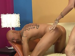 This boy gags on her severe toy dick as this chick shoves it in and out of his mouth. The old stallion takes it hard up his firm anal opening and bounces up and down on her thong on have benefit from the precious dildo-sucking slave that that guy is.