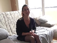 Dark haired housewife took off her garments to gain a wonderful fuck from her aficionado