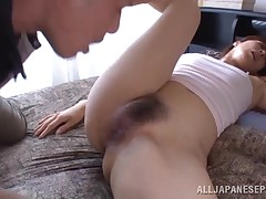 Due to he caught her masturbating, this fellow will give the hot placid lady Reiko, what this chick needs. It's a sympathy for such a queen to rub her pussy, so the fellow rubs her unshaved snatch and then, humps her mouth. Yeah, this chick won't yearn to