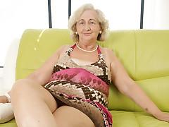 Calm Grandma Playing With A Purple Vibrator - MatureNL