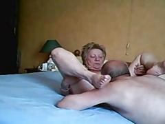 Grandpa having rug munch to grandma