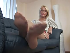 Perspired Blond Nylonfeet
