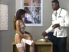 Ebony doctor gives sweaty chick in lingerie a whole physical
