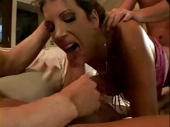 Dark hair MILF in pink takes dualistic penetration and two facials