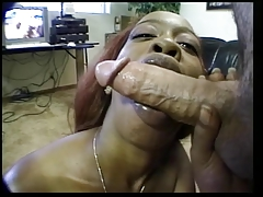 Darksome prostitute swallowing white 10-Pounder and hairy mat-bags for cum