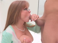 Lustful milf and youngster eating knob in untamed threesome