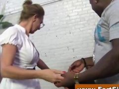 Passionate cougar sucks immense swarthy dicks