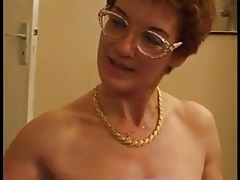 French ready whore in glasses gets two infant cocks