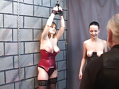 Two BDSM lesbo doxies eat bawdy cleft and smack for old stud master