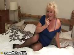 Blonde seasoned housewife in sexy brown part3