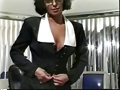 Astounding brown hair in glasses is showing her snatch in the office