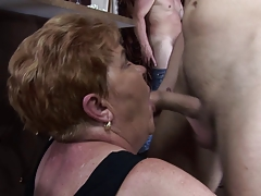 Horny grannies fuck at the rod