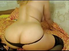 Golden-haired MILF shows Massive Zeppelins on Webcam