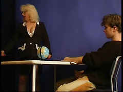 Guy-pupil & overweight advisor woman at the lesson