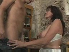 Fucking his busty stepmother in the wine cellar...F70