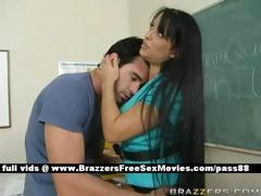 Breasty brown hair teacher at school going in duration an earthquake