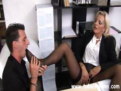 Hardcore Italian MIF with a charming clitoris makes her associate do her