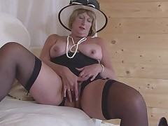 This old grown is wearing her covert hat and this girl has her legs widen so this girl can plays with her pussy. This babe embarks on off by using her fingers, and then this girl moves on to using her fucking toys. this girl compresses the penis stimulato