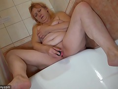 Bernadett usually has a time for everything. But sometimes, when this chick is in the washroom and naked, this chick doesn't mind touching her vagina. See this hot elderly take the dildo keen to her old arse and moan with pleasure. The water in the tub ma