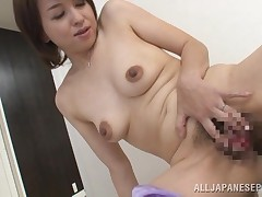 Kumi has a double action of appealing breasts and some very joyous nipples. The grown Nippon slut aspires to fuck and the idea of wang makes not purely her boob points perky, but her cunt drenched too! Luckily for her, this man shows up and she sets up to