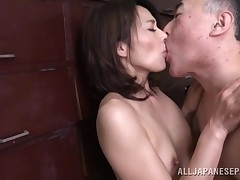 This old weirdo rips off his wife's clad and licks her body all over. This dude sucks on her fingers and kisses her hard, before sliding his hand down to her panties, and rubbing on her  cunt. This dude is nearly a perv and loves to take up with the tongu
