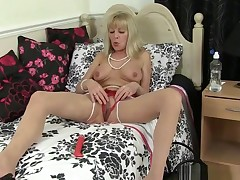 British Granny Georgie Nylons Fucks She is With A Sex toy