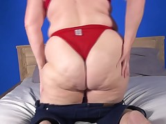 This golden-haired fatty has been around the block a minority times. The ripe slut is wearing no thing but red lingerie. This babe shows off her celluloid overspread ass cheeks and juggles her saggy tits earlier than laying ago and stroking with a dildo.
