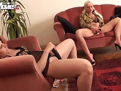 2 versed prostitutes are in worthwhile mood and share their classified moments with the camera. The blonde mom and the hot dark brown are together wearing high heels, provocative underclothes and underclothing with leopard print. They look as if astonishi