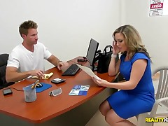 Perspired blonde milf simulating actual conditions to test the inside camera