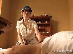 That guy lays ago in the midst of the living room with his g-string down and this mature Japanese lady is going to have some joy with him. That babe jacks him off, in anticipation of this boy is rock hard. Watch, as this girl gives him a blowjob, too.